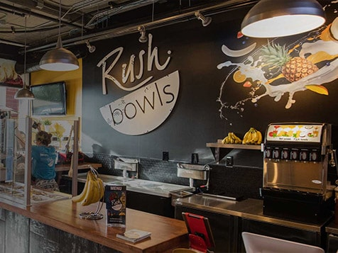 Inside a Rush Bowls franchise location