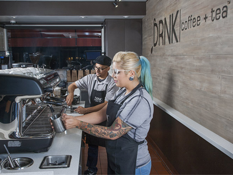 Inside the DRNK coffee + tea franchise