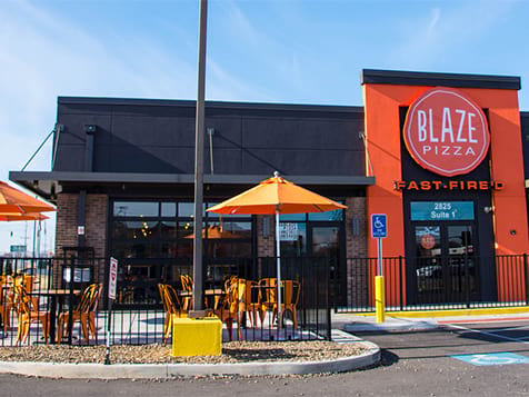 Outside a Blaze Pizza Franchise