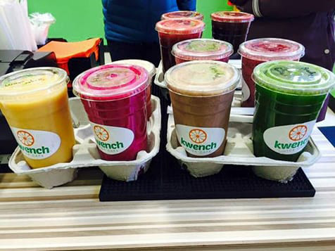 Juices from the Kwench Juice Cafe Franchise