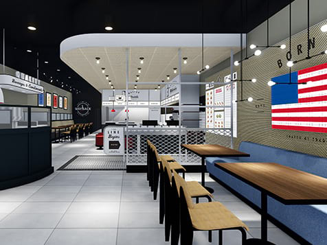 Rendering of Wayback Burgers franchise interior