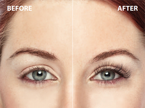 Before and after Amazing Lash eyelash extensions