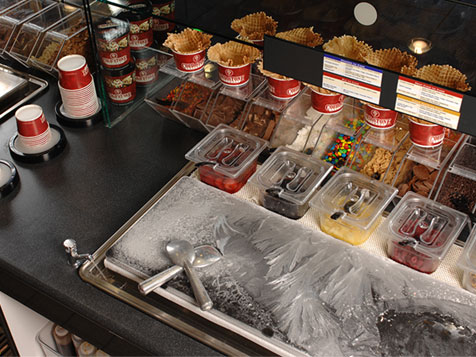 Behind the counter of a Cold Stone Creamery Franchise