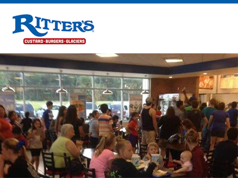 Long line of customers at a Ritter