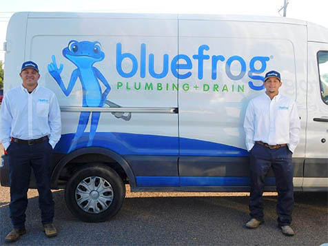 A Blue Frog Plumbing + Drain Vehicle and Employees
