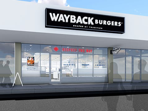 Rendering of Wayback Burgers franchise exterior