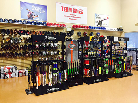 Inside the pro shop at an Extra Innings Franchise