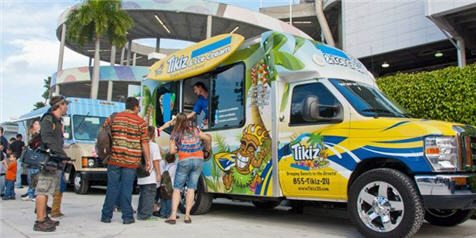 TIKIZ SHAVED ICE & ICE CREAM Franchise Customers with franchise truck