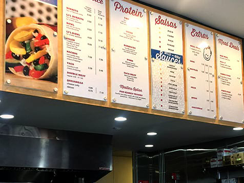 Hot Head Burritos Franchise Menu Board