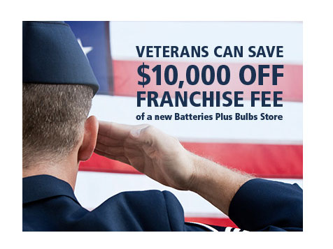 Veteran discount off Batteries Plus Bulbs Retail Franchise Fee